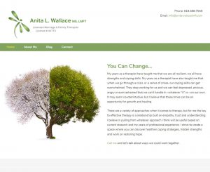 Anita Wallace MS, LMFT Website Screenshot